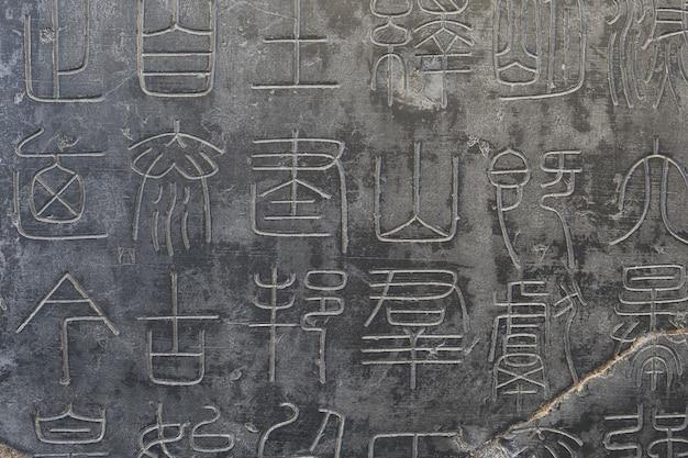 Каменные таблички с древней китайской каллиграфией в музее каменных стел сиань, провинция шэньси, китай