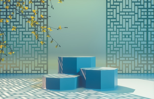 Chinese background with blue podium for product display.
