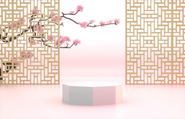 Китайский фон с белым подиумом для отображения продукта.