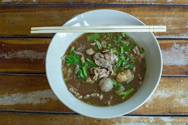 Chinese beef noodles with clear soup stewed beef and meatballs