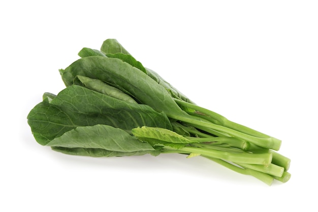 Chinese broccoli or brassica oleracea vegetable isolated on white background.