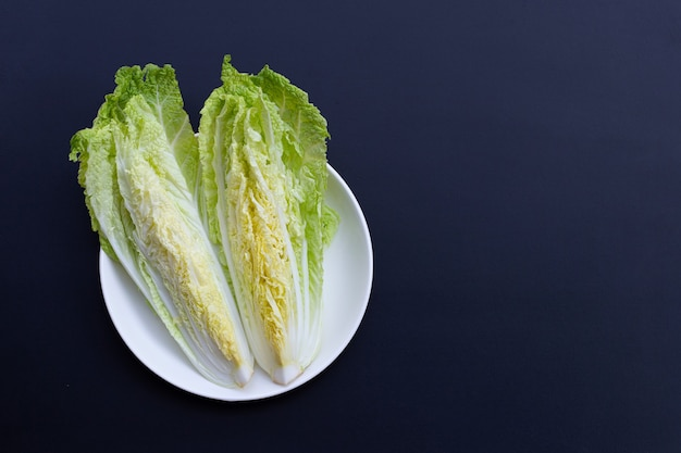 Chinese cabbage on dark surface