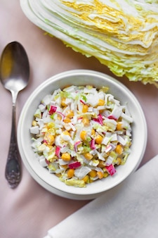 Chinese cabbage, sweet corn and surimi salad