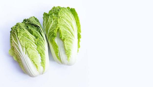 Chinese cabbage on white. copy space