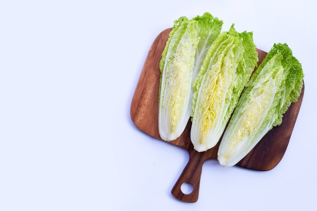 Chinese cabbage on wooden cutting board.
