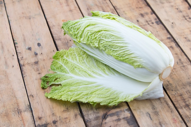 Chinese cabbage on wooden table.