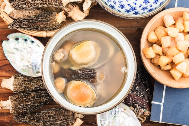 Chinese cuisine-abalone and morel soup