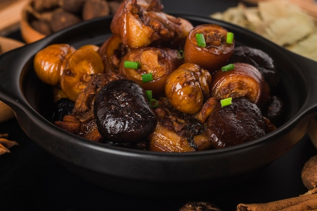 Chinese cuisine: braised chestnut pig tail