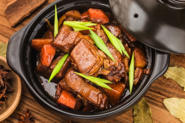 Chinese cuisine: a plate of braised lamb