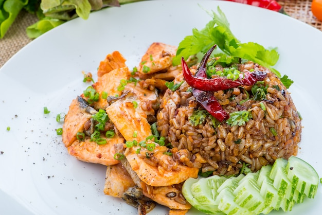 Chinese cuisine, salt salmon fish and egg fried rice and vegetables with ingredients on rustic background.