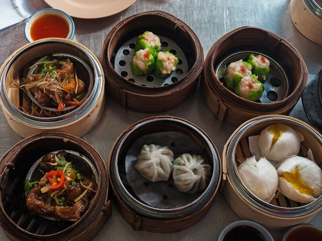 The chinese dimsum in bamboo basket