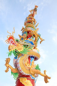 Chinese dragon in blue sky
