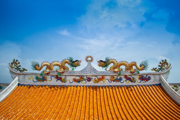 Chinese dragons on chinese temple roof