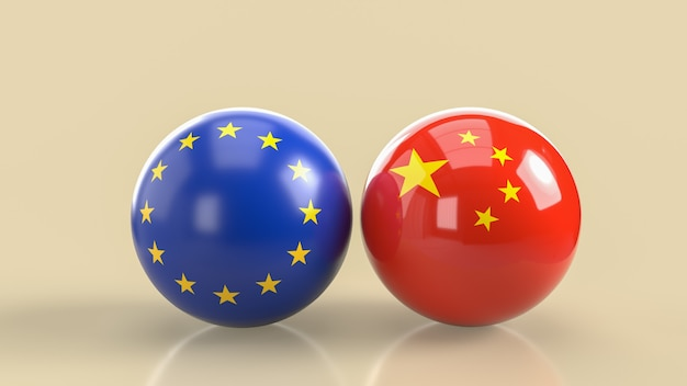 The chinese  and  european union ball image 3d rendering