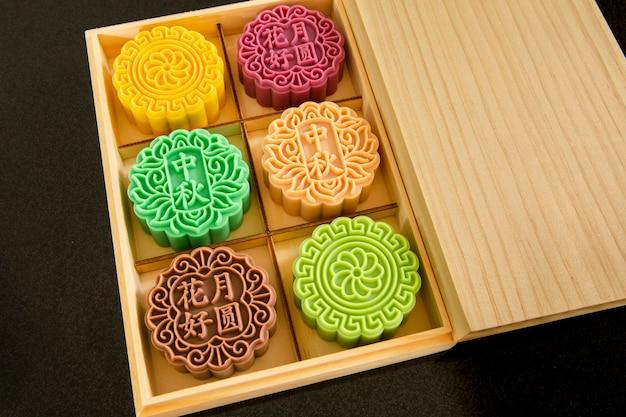 중국 축제, 가족 상봉 중추절, 월병 모양의 비누 선물 상자