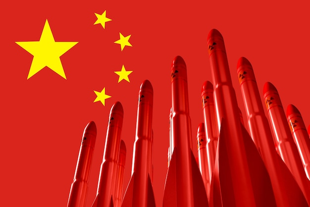Chinese flag with atomic missiles in the background. 3d illustration