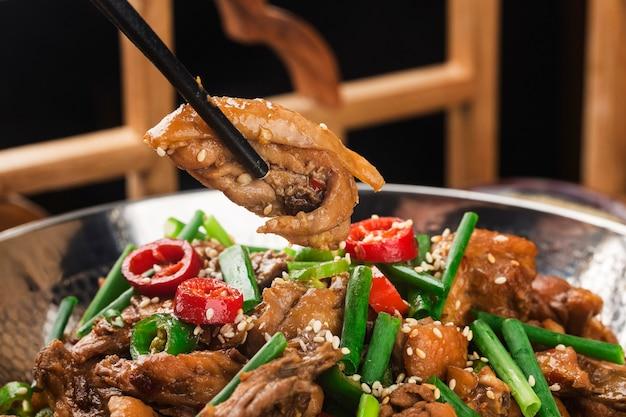 Pollo secco cibo cinese