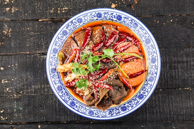 Chinese food: duck blood in chili sauce