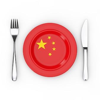 中華料理または料理のコンセプト。白い背景の上の中国の旗とフォーク、ナイフ、プレート。 3dレンダリング