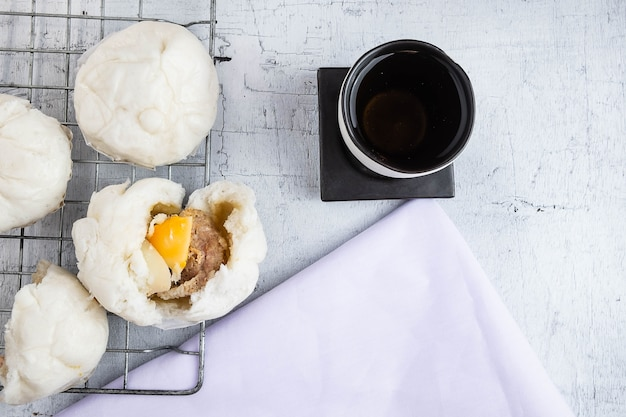 Chinese food steamed buns with pork belly