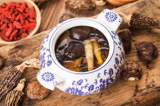 Chinese food stew mushroom stewed chicken soup y and nutritious . good for health.