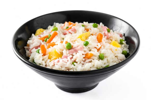 Chinese fried rice with vegetables and omelette isolated on white