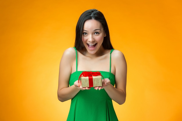 Chinese girl with a gift