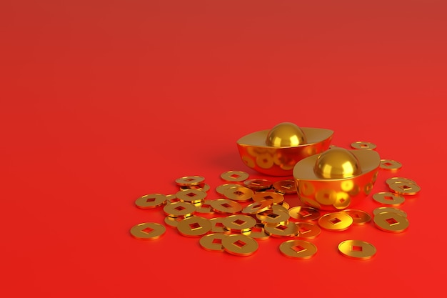 Chinese gold ingots and coins, symbol of prosperity, isolated on red background.
