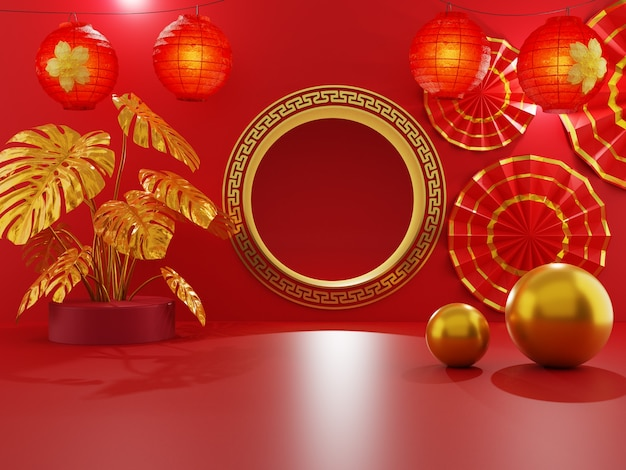 Chinese golden gate decorated with red lanterns and golden tropical anthurium plant on a red background and golden ball