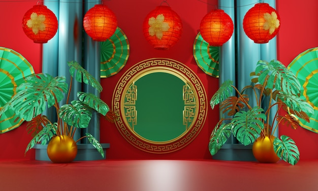 Chinese golden gate decorated with red lanterns and tropical anthurium plant on a red background and three green pillar