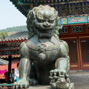 Chinese guardian lion statue at a palace, hall of dispelling clouds, longevity hill, summer palace,
