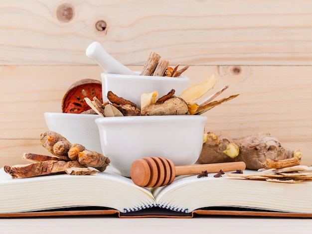 Chinese herbal medicine  for healthy recipe on wooden background.