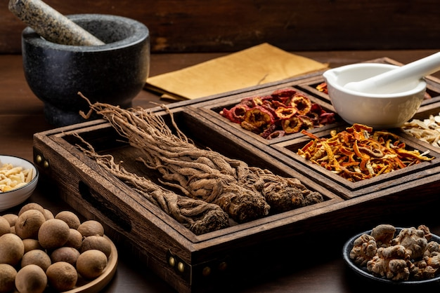 Chinese herbal medicines and prescriptions on the table