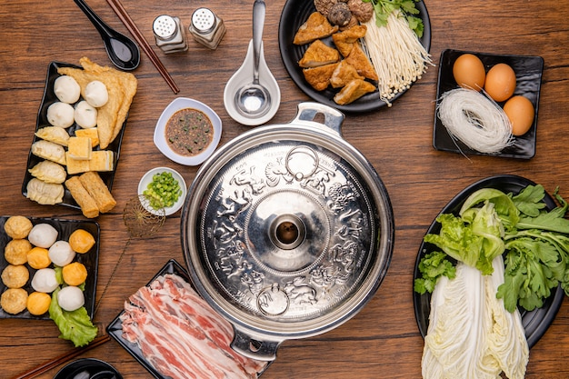 Chinese hot pot also known as soupfood or steamboat is a cooking method that originates from china prepared with a simmering pot of soup stock at the dining table