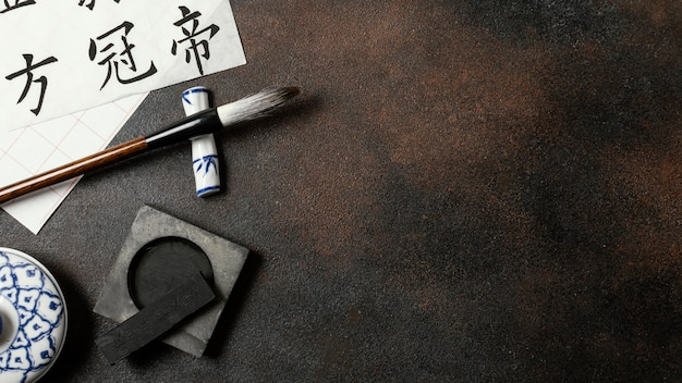 Chinese ink elements assortment with copy space