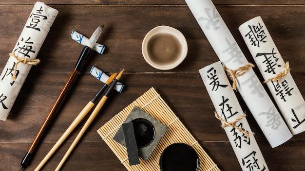 Assortimento di elementi inchiostri cinesi