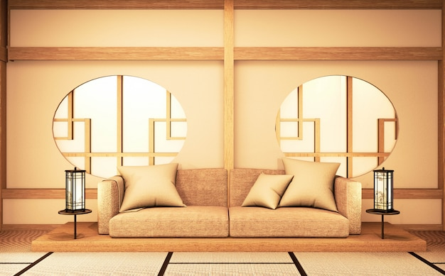 Chinese interior with circle window wooden design idea of room japan and tatami mat. 3d rendering