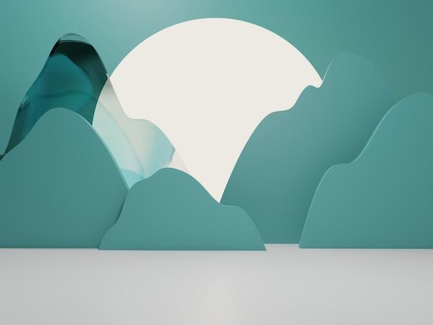 中国の日本または韓国の製品は、背景の水彩ガラススクリーンと山の切断を表示します