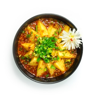 Chinese jelly pea noodles liangfen with sauce