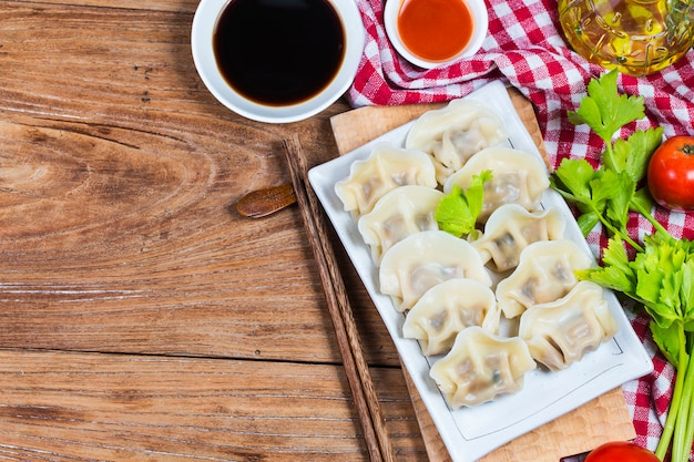 Chinese jiaozi new year food,