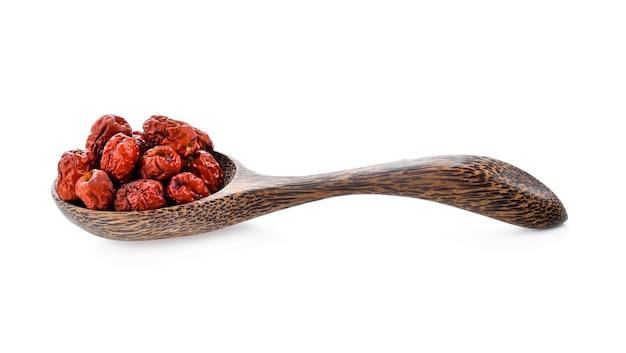 木のスプーンで中国のナツメ