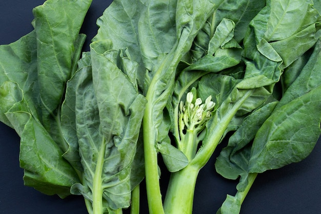 Chinese kale or kailaan or hong kong kale on dark background.