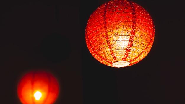Chinese lantern on black background