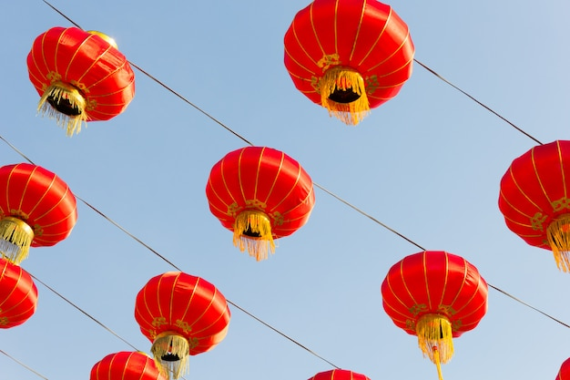 Chinese lantern in the sky, new year celebration
