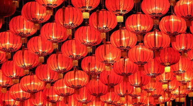Chinese lanterns arrangement on the ceiling