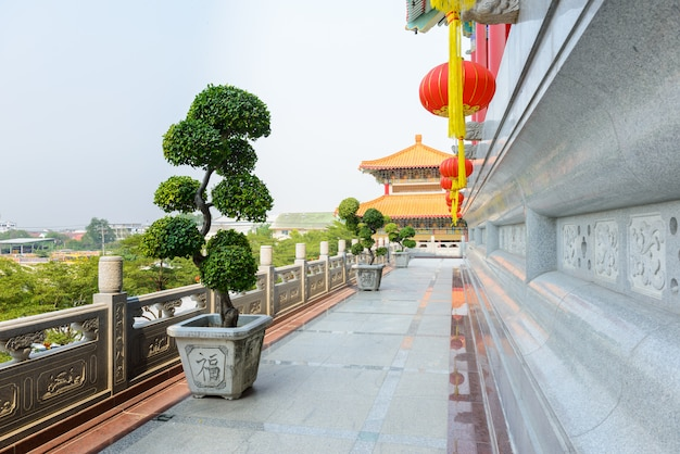 Chinese lanterns during new year festival with bonsai tree, dwarf tree