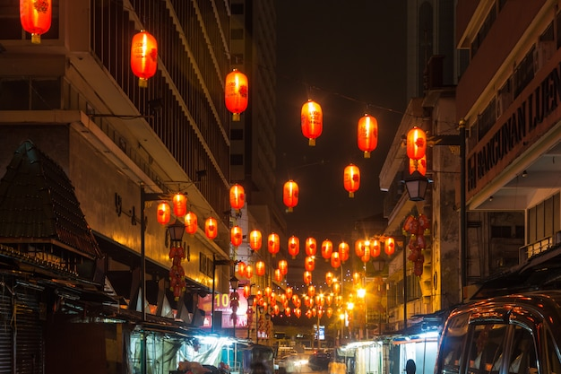 Chinese market with lanterns at night