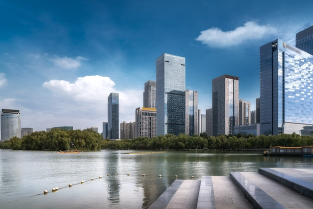 Chinese modern city with skyscrapers near the river