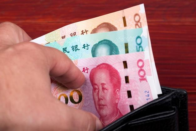 Китайские деньги в черном кошельке