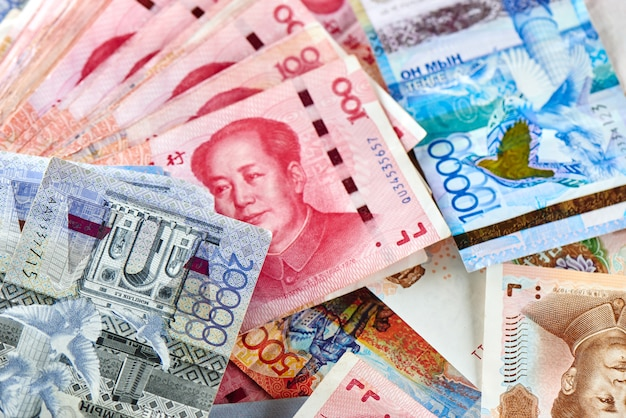 Chinese money yuan and kazakh tenge.